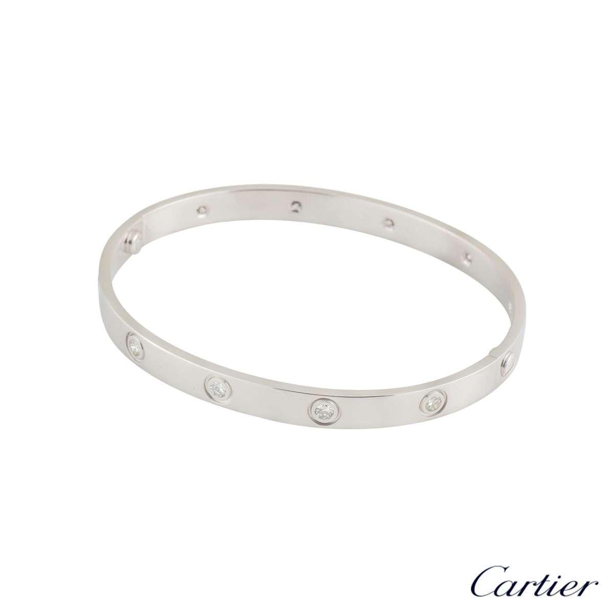 Cartier White Gold Full Diamond Love Bracelet Size 18 B6040718